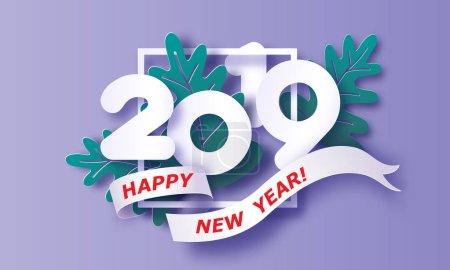 2019 New Year design card on purple background. Vector illustration. Paper cut and craft style.