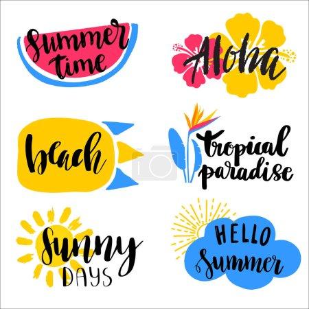 一套手绘的夏季主题字母短语。水彩背景上的现代书法引文。可用于网页、印刷、纺织品设计_高清图片_邑石网