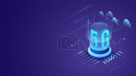 圆形讲台上 5g 的 3d 字母,带紫色电路板 hig_高清图片_邑石网