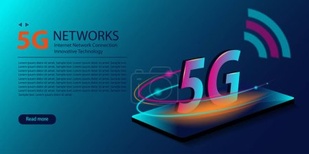 5G network new wireless internet wifi connection. Innovative generation of the global high speed Internet broadband. Technology neon glowing abstract background. Vector .