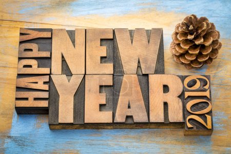 Happy New Year 2019 greeting card - word abstract t in vintage letterpress wood type blocks with a pine cone