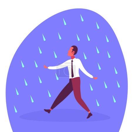 商人在雨中奔跑无保护雨天问题概念平面卡通人物_高清图片_邑石网