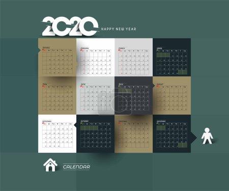 新年快乐 2020 日历 - 新年假期设计元素 _高清图片_邑石网