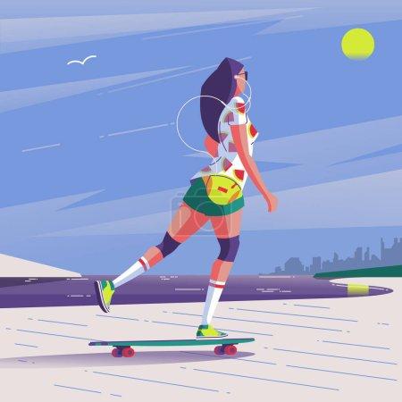 长板女子骑马的矢量插画设计