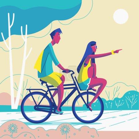 森林中情侣骑自行车的矢量图解设计