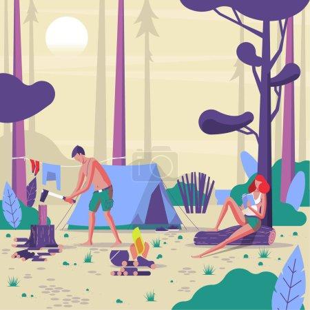 森林露营人的矢量插画设计