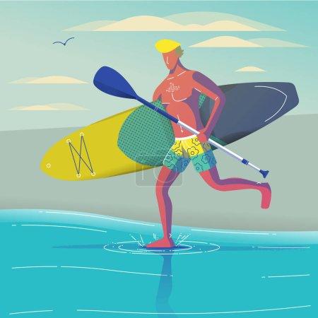 冲浪板跑人矢量插画设计