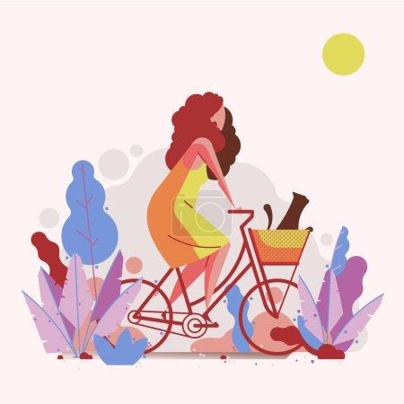 卡通女子骑自行车在镇上