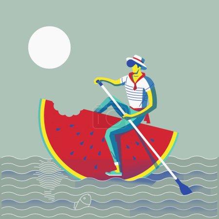男子游泳坐在红色的西瓜