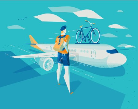 Person looking at plane with his bike, vector illustration