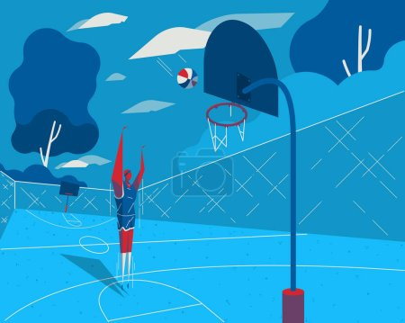 male playing basketball background, vector illustration