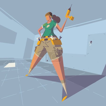 Strong female character holding drill in her hand, vector illustration