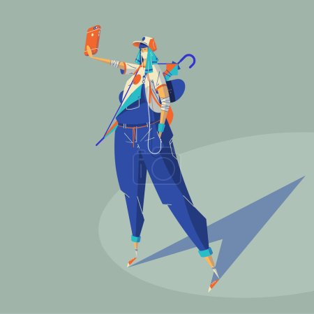 Fashionable girl making selfie, vector illustration
