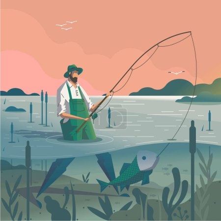Man standing in pond with fishing rod and catching fish