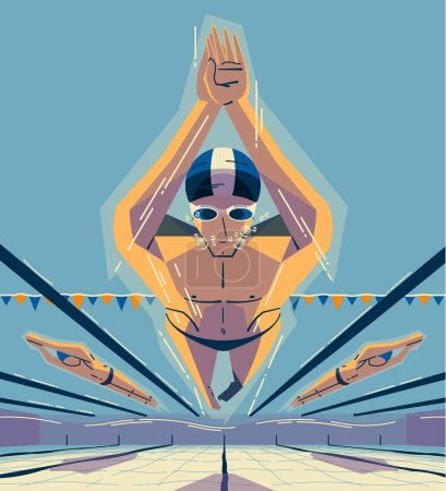 Colorful poster with men in swim competition