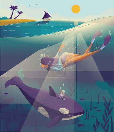 Woman diving in tropical sea with fish