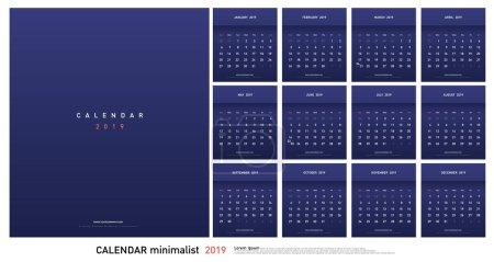 日历2019时尚渐变简约风格。设置12页台历。矢量设计打印模板_高清图片_邑石网