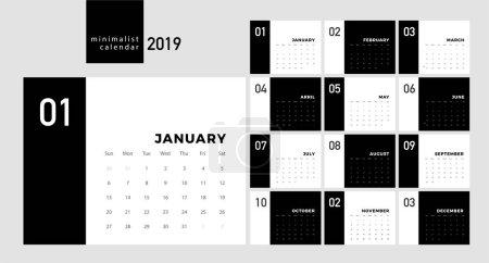 日历2019时尚简约风格。设置12页书桌。打印模板的最小日历规划黑白矢量设计_高清图片_邑石网