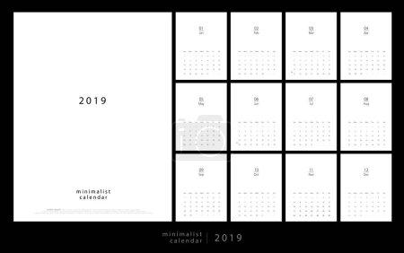 日历2019时尚简约风格。设置12页台历。打印模板的最小日历规划矢量设计_高清图片_邑石网