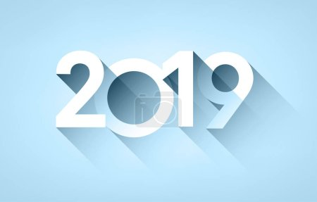 White 2019 new year sign with shadow on blue background. Vector paper illustration.