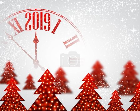 White shiny 2019 New Year background with red clock and Christmas trees. Beautiful Christmas greeting card template. Vector illustration