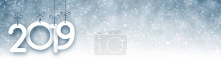 Grey 2019 New Year banner with snow. Vector background.