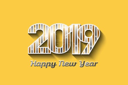 2019 New Year in Gold and Silver colors - Vector Illustration