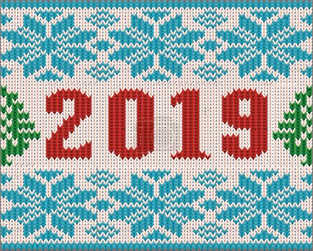 Happy 2019 New Year wallpaper,  knitted texture, vector illustration