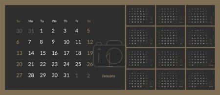 向量2019年新年日历在干净的最小的桌简单的样式._高清图片_邑石网
