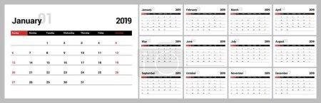 2019年新年日历在干净的最小表简单的样式._高清图片_邑石网