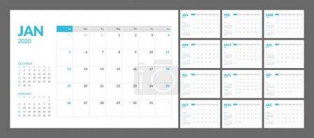 日历 2020 年新年在干净的最小表简单风格._高清图片_邑石网