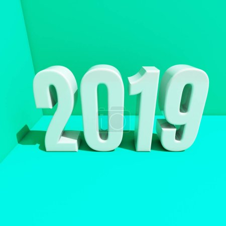 New Year Red 2019 Creative Design Concept 3D Rendered Image