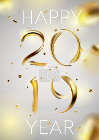 Abstract Golden 2019 New Year background of modern liquid graphic elements. Dynamic banner with flowing shapes. Template for card, poster, flyer, presentation, banner. Vector illustration