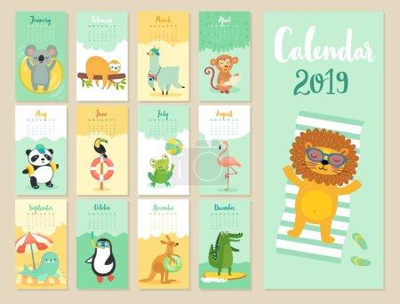 日历2019。可爱的月历与森林动物。手绘样式字符._高清图片_邑石网