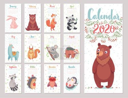 日历 2020 与伍德兰字符。可爱的森林动物._高清图片_邑石网