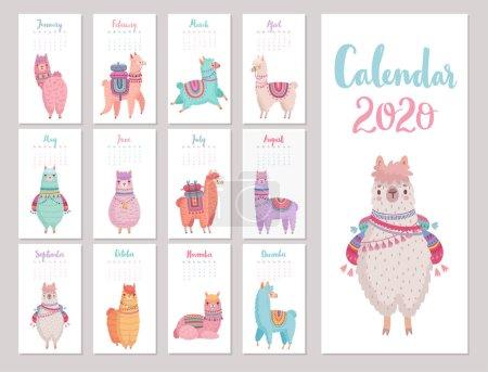 日历 2020 与可爱的拉马.五颜六色的羊驼._高清图片_邑石网