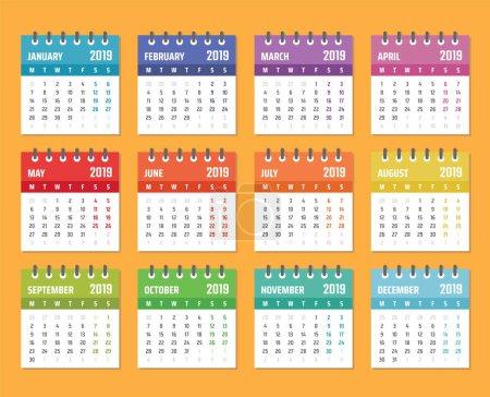 日历为2019开始星期一, 矢量日历设计2019年_高清图片_邑石网