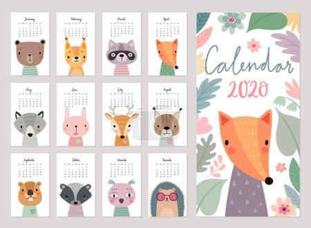 2020年日历。 可爱的月历与林地动物。 手绘森林人物._高清图片_邑石网