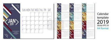 2019年新年日历的矢量在干净的极小的表简单的样式和蓝色 A4 大小_高清图片_邑石网