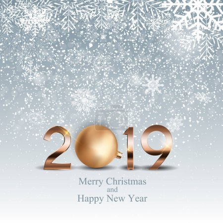 2019 New Year Background with Christmas Ball. Vector Illustration