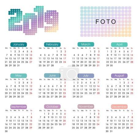 2019年历在一个简约的几何风格和明亮的霓虹灯颜色的浅色柔和色调和一个地方的照片_高清图片_邑石网