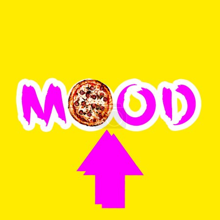Contemporary art collage. Minimal concept.  text Pizza mood