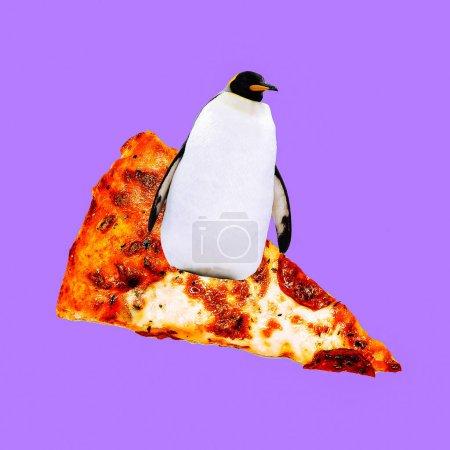 Contemporary visual art collage. Minimal concept.  Pizza lover. Penguin Surfer