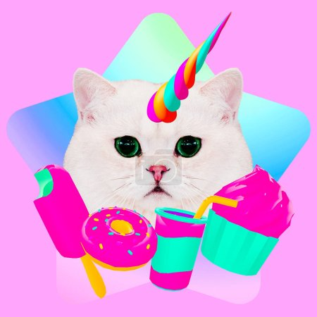 Contemporary fun art collage. Minimal concept.  Candy lover. Pussy unicorn