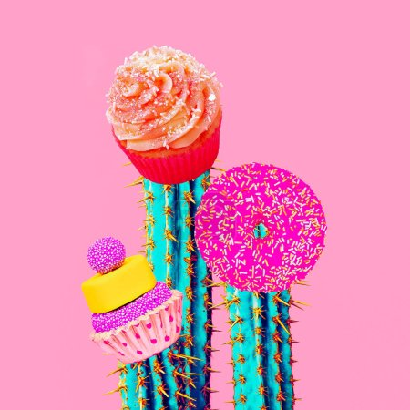 Contemporary art collage. Minimal concept.  Candy sweet cactus art
