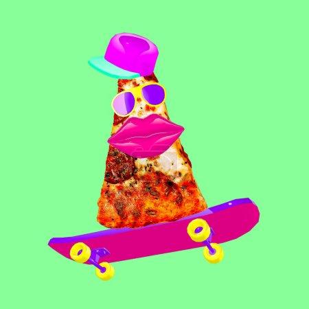 Contemporary visual art collage. Minimal concept.  Pizza Lover. Pizza skater