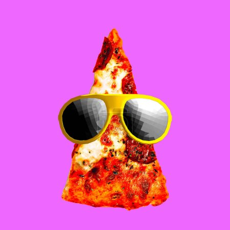 Contemporary visual art collage. Minimal concept.  Pizza Lover. Pizza Hipster  piece