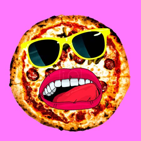 Contemporary visual art collage. Minimal concept.  Pizza Lover. Pizza Hipster