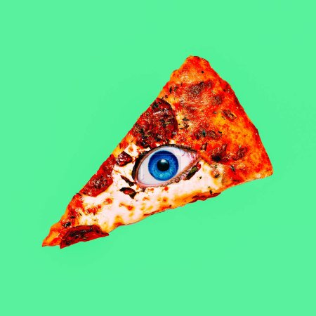 Contemporary visual art collage. Minimal concept. Pizza and eye