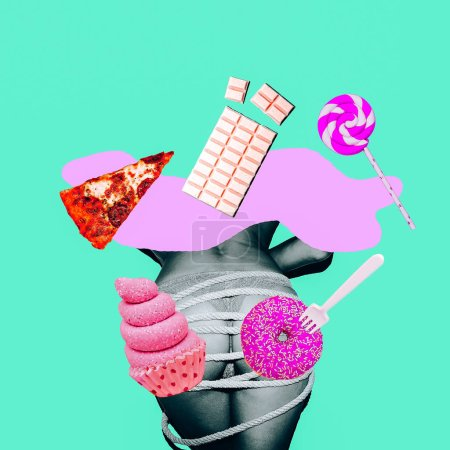 Contemporary art collage. Minimal concept.  What about diet, Girl? Fast food lover mood